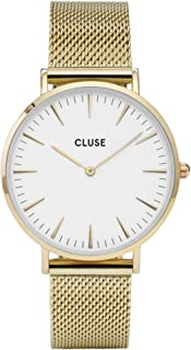 CLUSE La Bohème Mesh Gold White CL18109 Women's Watch 38mm Stainless Steel Strap Minimalistic Design Casual Dress Japanese Quartz Elegant Timepiece