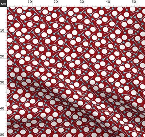 blau, rot, Vektor, klein, Sport, Golf, multidirektional, Golfball Stoffe - Individuell Bedruckt von Spoonflower - Design von Pamelachi Gedruckt auf Bio Musselin
