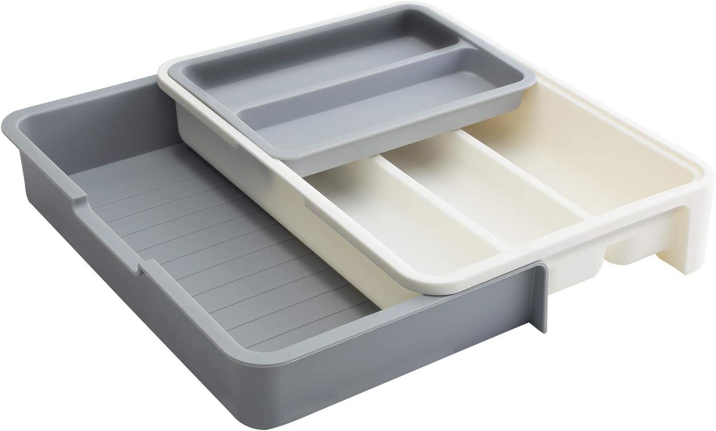 Decorus Bandeja extensible ajustable para cubiertos para utensilios, cubiertos, cajón, organizador de cocina, 7 compartimentos, sin BPA, organizador de utensilios