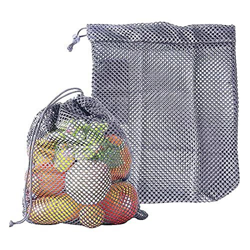ADIBY Gemüsesäcke Mesh 2Pcs S Obstbeutel Wiederverwendbare Baumwolle Waschbare Aufbewahrung Reisetasche Protable Zwiebelhalter Lebensmittel Kordelzug Einkaufsmarkt Umweltfreundliches