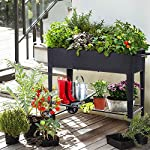 """FOYUEE Raised Planter Box with Legs Outdoor Elevated Garden Bed On Wheels for Vegetables Flower Herb Patio 14 SIZE: 40-1/2"""" L x 15-1/2"""" W x 31-1/2"""" H overall, planting box: 37-1/2"""" L x 15-1/2"""" W x 8"""" deep, holds about 2.5 cubic feet soil, provide ample growing space to raise vegetables, herbs, flowers and plants ERGONOMIC: Elevated raised planter box with legs eliminates the need to bend over, making gardening convenient. Raised garden bed on wheels, move to anywhere you want, with handy shelf holds accessories or tools METAL: Made of stable galvanized steel raised garden bed with anti-rusty grey coating, not made of wood which may rot. It can place outside or indoor for long time use"""