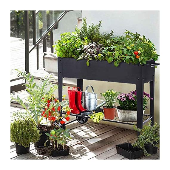 """FOYUEE Raised Planter Box with Legs Outdoor Elevated Garden Bed On Wheels for Vegetables Flower Herb Patio 7 SIZE: 40-1/2"""" L x 15-1/2"""" W x 31-1/2"""" H overall, planting box: 37-1/2"""" L x 15-1/2"""" W x 8"""" deep, holds about 2.5 cubic feet soil, provide ample growing space to raise vegetables, herbs, flowers and plants ERGONOMIC: Elevated raised planter box with legs eliminates the need to bend over, making gardening convenient. Raised garden bed on wheels, move to anywhere you want, with handy shelf holds accessories or tools METAL: Made of stable galvanized steel raised garden bed with anti-rusty grey coating, not made of wood which may rot. It can place outside or indoor for long time use"""