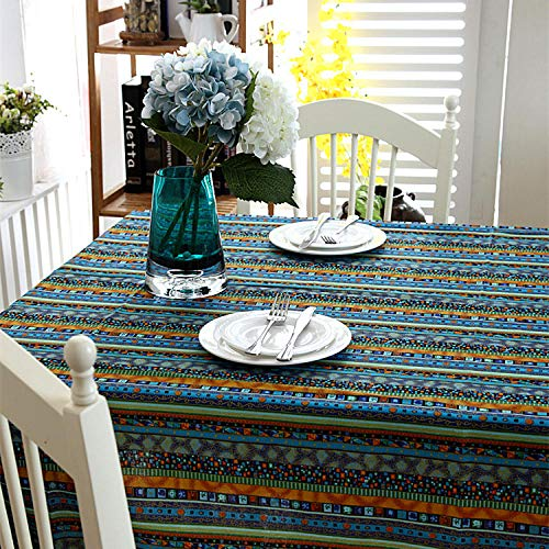 GTWOZNB Wipe Clean Tablecloth with Table Cover Bronzing lace-Blue gold (no lace)_90X90CM