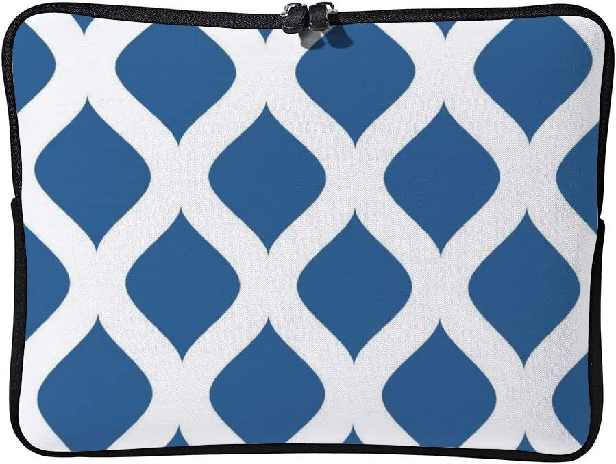 Aqua Geometric Pattern 10 Inch Protective Laptop Sleeve Ultrabook Notebook Carrying Case Compatible with MacBook Pro MacBook Air Tablet Briefcase Bag