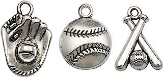 Baseball DIY Charms 8pc set Catcher/'s Mitt Baseball Bat Batter Baseball Jewelry