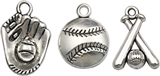 Ball Sports Charms-60pcs Alloy Ball Games Baseball Sports Charms for Crafting DIY Necklace Earrings Bracelet Jewelry Making Accessaries m130 (Baseball Charms)