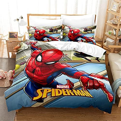 Itscominghome Bettwäsche Sets - Superheld -Spider Man -3D-Digitaldruck -geeignet für Kinder Junge Mädchen Cartoon/Anime-Fans (Spider 12,220X260cm)