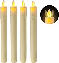 5PLOTS 8 Inch LED Taper Candles with Moving Wick, Amber Yellow Flickering Flameless Window Candles for Table Centerpieces, Party Decoration, Set of 4