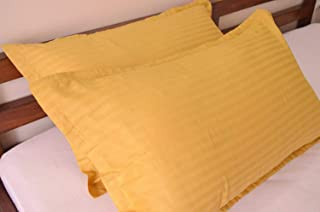 Urban Space Cotton 220 TC Pillow Cover, 18 x 28 Inch, Mustard, 2 Pieces