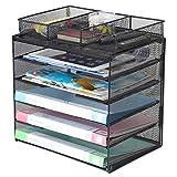 Samstar Organizador de bandeja de cartas, de malla, organizador de archivos, organizador de papeles, 5 niveles con 1 clasificador de archivos extra, color negro