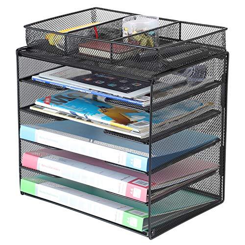 Samstar Letter Tray Organizer Mesh Desk File Organizer Paper Sorter Holder 5-Tier with 1 Extra Drawer Black