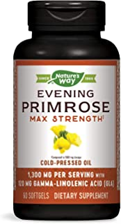 Nature's Way EfaGold® Evening Primrose Max Strength Cold Pressed Oil 1300 mg with 10% GLA, 60 Count