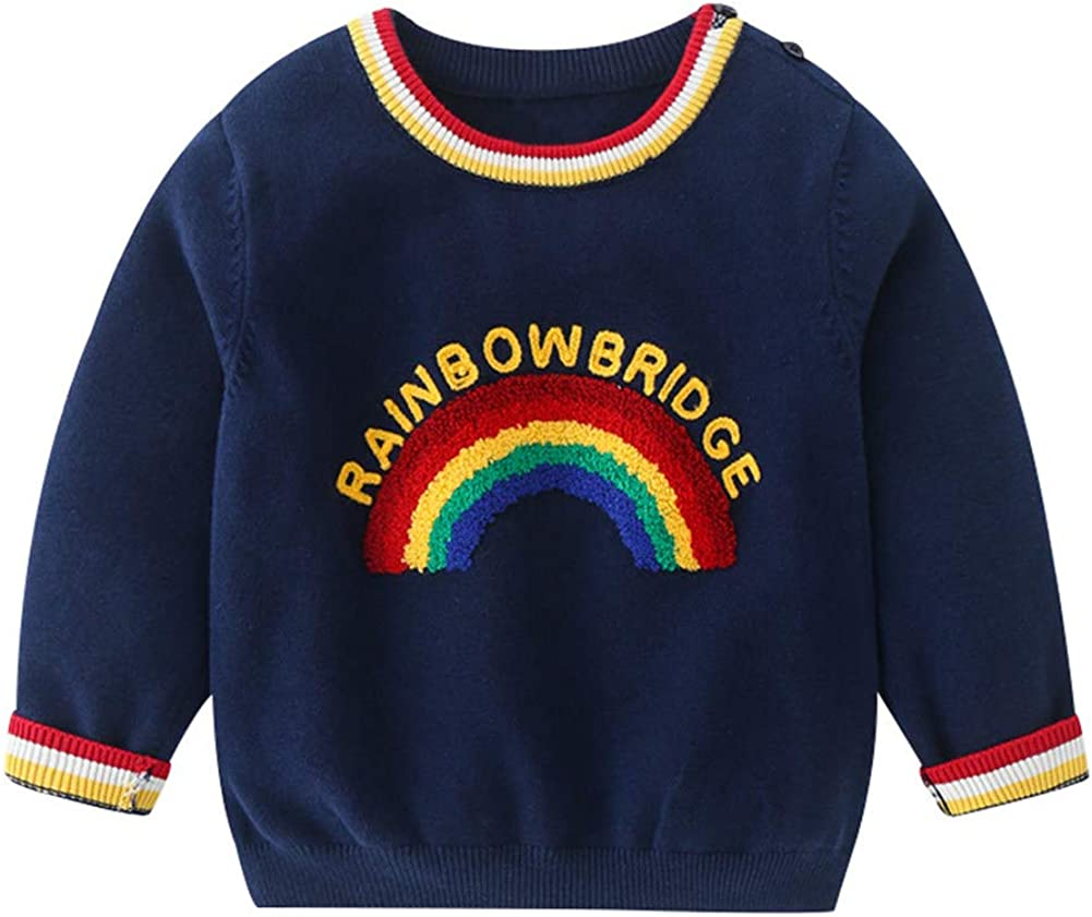 LittleSpring Boys Rainbow Sweater Colorful Autumn Pullover