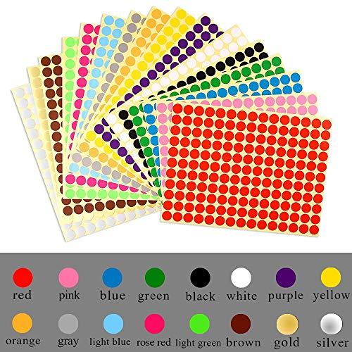 ZARRS Pegatinas Redondas Colores de 32mm,Etiquetas Adhesivas Redondas 14 Pegatinas de Etiquetas Autoadhesivo Imprimibles Manuscritas de Colores para Calendarios de Codificación de Colores,DVD,Libros