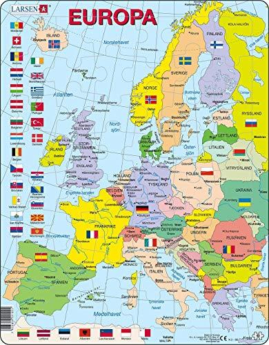 Larsen K2 Mapa político de Europa, edición en Sueco, Puzzle de Marco con 48 Piezas