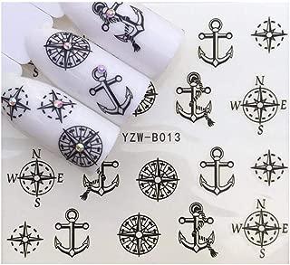 Nautical Navy Black Anchor Ship Compass Marine Wrap Decals Sticker Salon Quality Nail Art - 1 Sheet