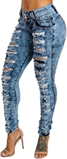 Women's Hight Waisted Skinny Jeans Distressed Ripped Stretch Denim Pants