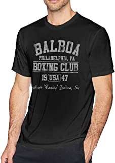 Rocky Balboa Boxing Club Top for Men Tee Slim Fit Casual Tops Short Sleeve Shirts Black Sport Gifts T-Shirt Black