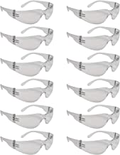 Clear Frame Safety Glasses, One Size, Anti-Scratch, Impact Resistance, ANSI Compliant (12 Pack)