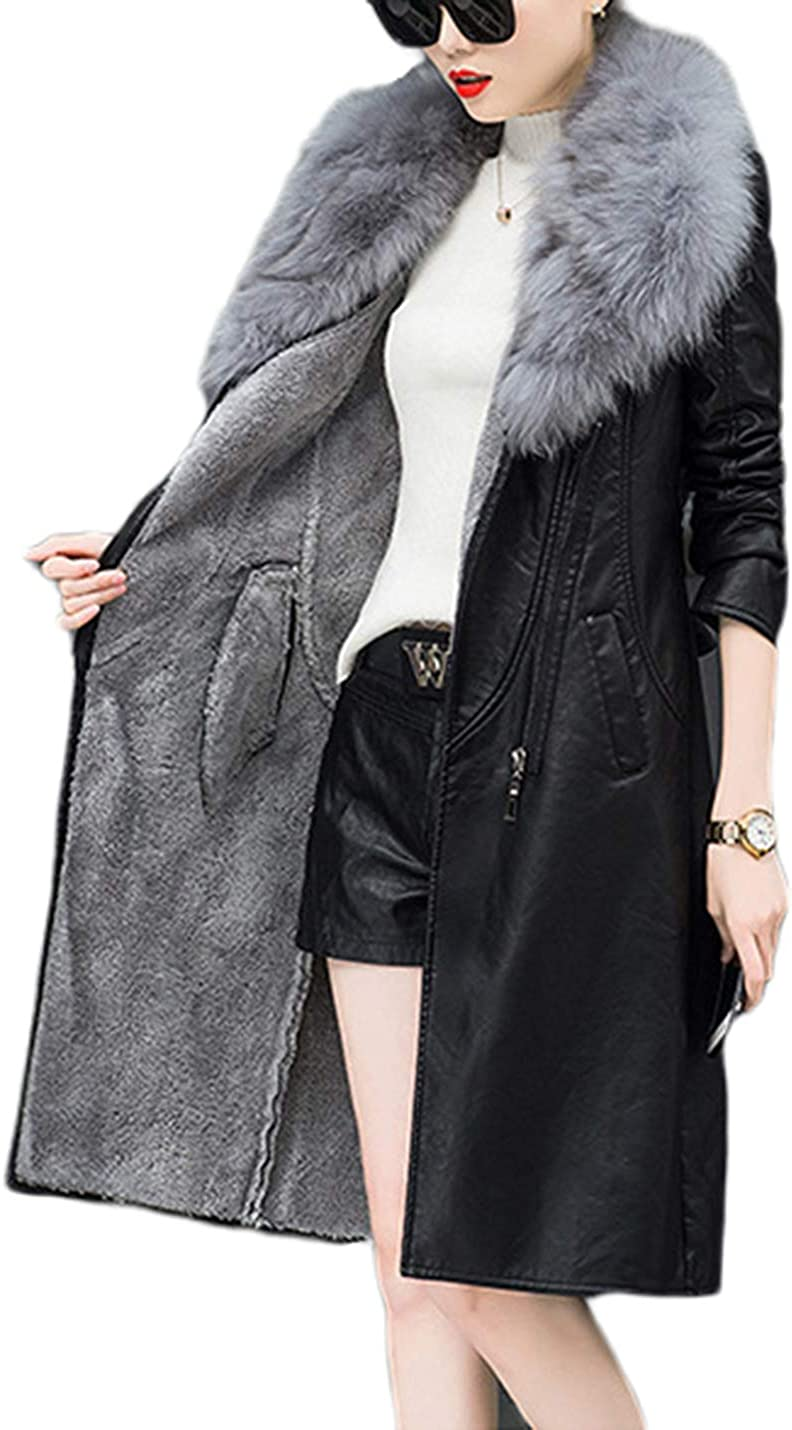 Omoone Womens Slim Removable Faux Fur Lapel Long Fleece Lined PU Leather Jacket