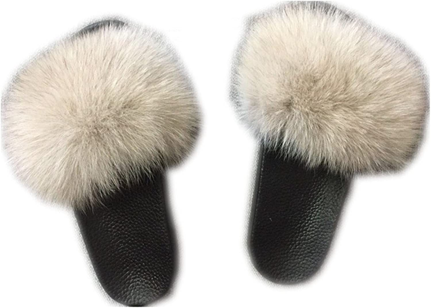QMFUR Women Real Fox Slippers Fur Slides Open Toe Single Strap Slip On Sandals Black Sole (10, Cream-1)