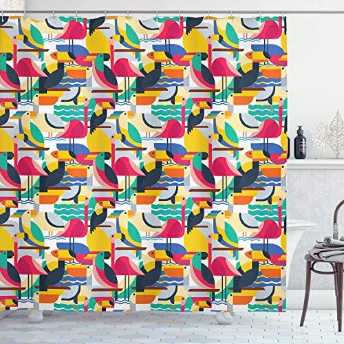 ABAKUHAUS Vögel Duschvorhang, Tukan und Flamingos, mit 12 Ringe Set Wasserdicht Stielvoll Modern Farbfest und Schimmel Resistent, 175x200 cm, Mehrfarbig