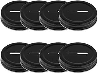 JEATHA Pack of 8 70mm Inner Metal Colored Coin Slot Lids Caps Covers for Regular Mouth Mason Jars & Piggy Banks Bottle Bla...