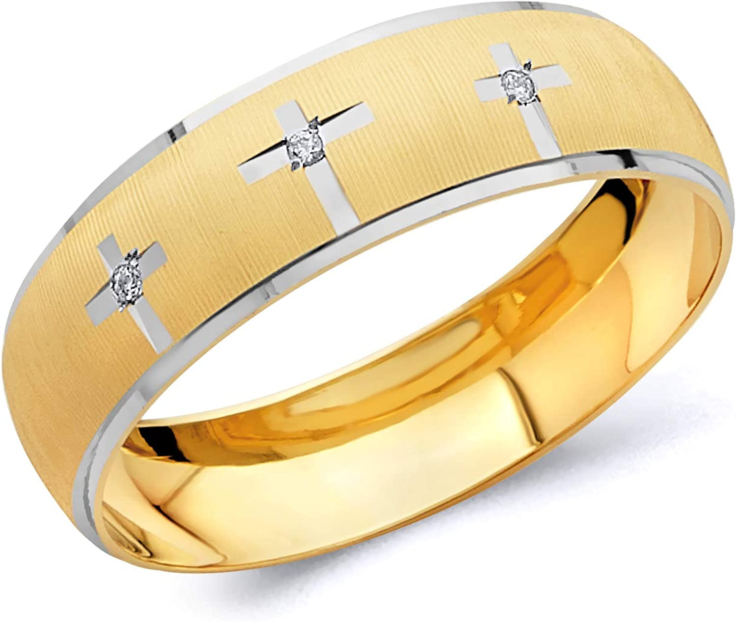 Wellingsale Mens Solid 14k Two 2 Tone White and Yellow Gold Polished Diamond Cut CZ Cubic Zirconia Wedding Ring Band