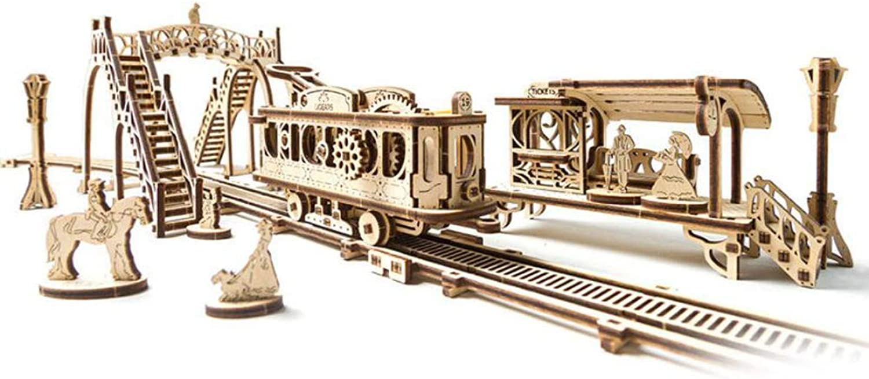 tienda en linea YMXLJJ 3D Rompecabezas de Madera del tranvía Paisaje Modelo DIY DIY DIY mecánica Montaje de la energía de Madera Juguete Conjunto de Juguetes Infantiles Rompecabezas educativos de Madera Casual  suministramos lo mejor