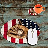Gaming Mouse Pad, American Flag Baseball Glove Design Round Non-Slip Rubber Mouse Pads Office Desk Accessories for Computers Laptop Computer Desk Come with Coasters Set