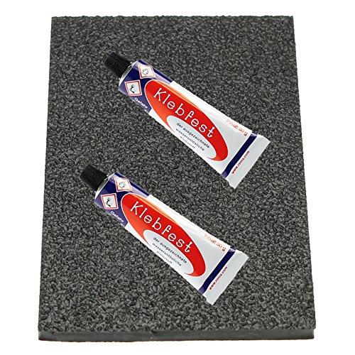 Langlauf Schuhbedarf Topy Absatzgummi 200x150mm groß, schwarz & Klebfest Sohlenkleber 2 x 30gr