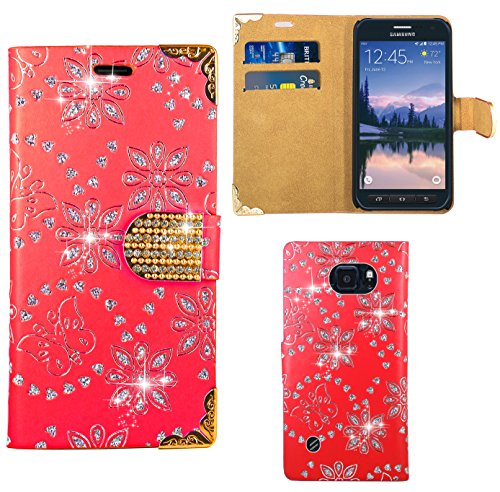 FoneExpert® Samsung Galaxy S6 Active Handy Tasche, Bling Diamant Hülle Wallet Hülle Cover Hüllen Etui Ledertasche Premium Lederhülle Schutzhülle für Samsung Galaxy S6 Active