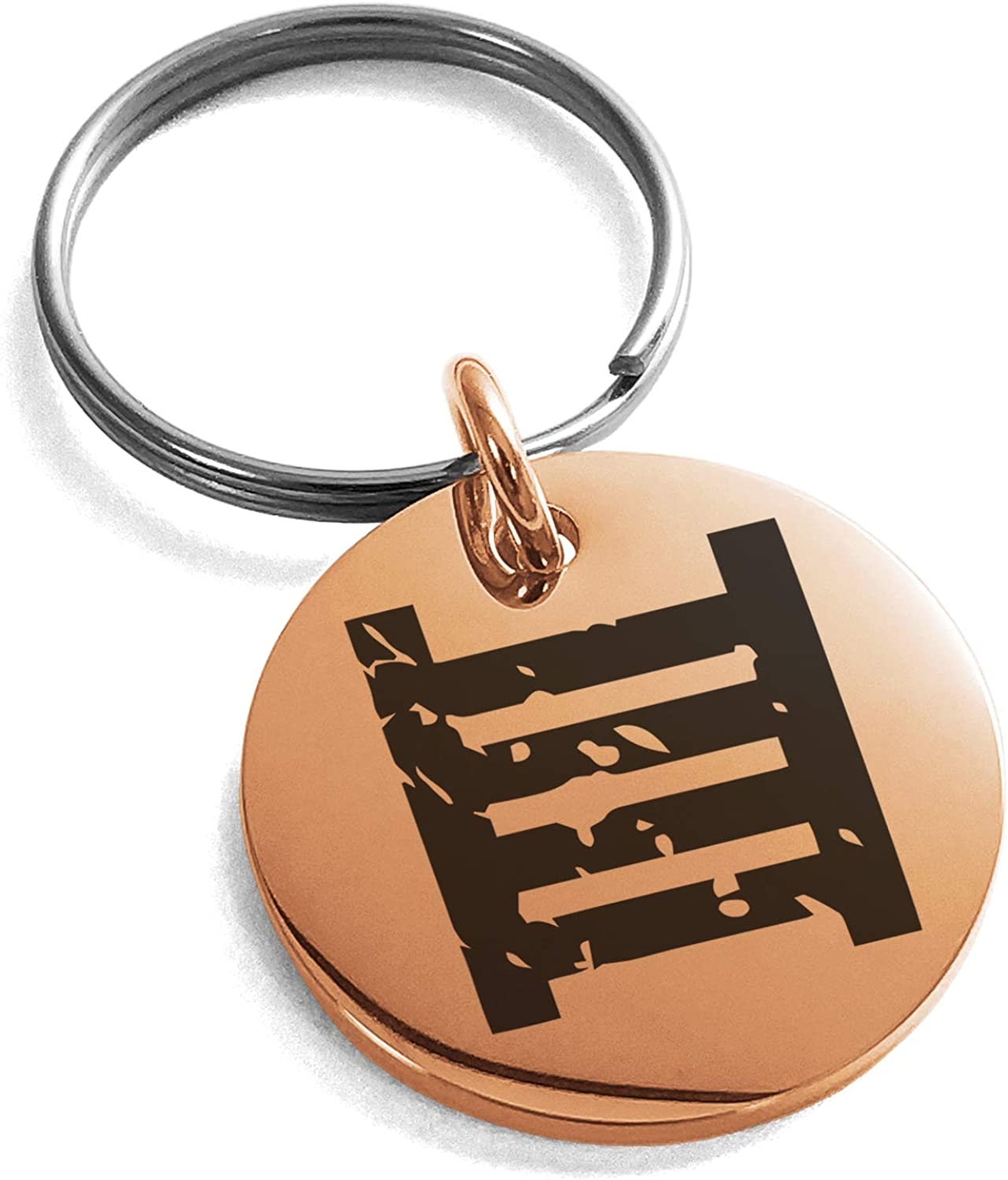 Tioneer Rose Gold Plated Stainless Steel Ancient Tribal Morality Rune Symbol Small Medallion Circle Charm Keychain Keyring