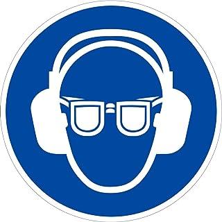 Aufkleber Gehörschutz und Augenschutz benutzen Folie selbstklebend 20 cm Durchmesser Gebotsschild praxisbewährt, wetterfest