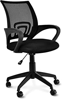 Goplus Computer Desk Chair Mid-Back Ergonomic Adjustable Swivel Executive Task Chair with Adjustable Height Arm for Home Office Mesh Chair, Black