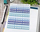 Daily Water Tracker Planner Stickers, Labels for Tracking Water in Blues (#900-003-BL)