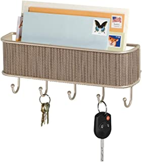 mDesign Metal Woven Wall Mount Storage Organizer Mail Sorter Basket with 5 Hooks - for Letters, Magazines, Coat, Pet Leash and Keys for Entryway, Mudroom, Hallway, Kitchen, Office - Pearl Champagne
