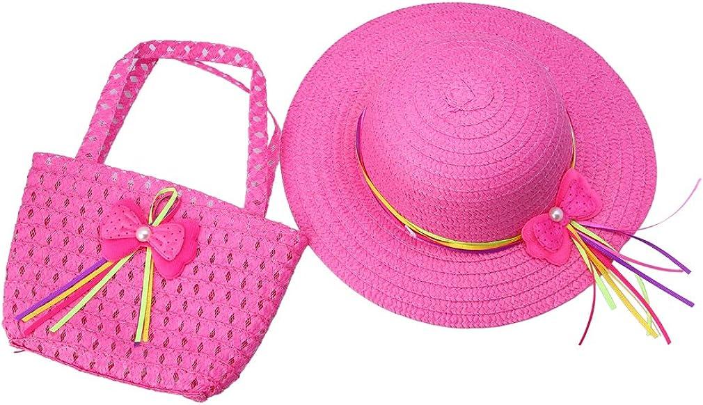 YueLian Kid Girls Straw Bag Max 74% OFF Sun Beach Summer Caps Hats Hand Seasonal Wrap Introduction Tote