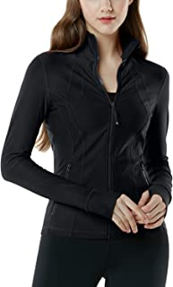 TSLA Women's Full Zip Workout Jackets, Long Sleeve Active Track Running Jacket, Lightweight Yoga Athletic Jacket