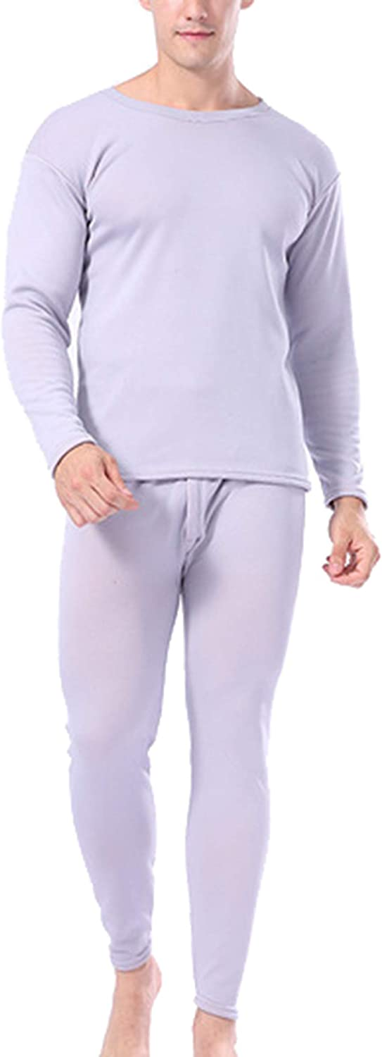 Femaroly Men's Double Layer Thick Thermal Underwear Set Middle-Aged Winter Warm Top and Bottom Long Johns