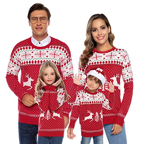 Family Matching Christmas Sweater Round Neck Reindeer Snowflakes Knitted Ugly Sweater Pullover (Dad,Mom,Kids) Red,