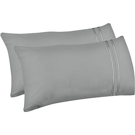 Lirex 2-Pack Taies d'oreiller, 50 cm x 101 cm Size Taies d'oreiller en Microfibre Brossée Douce de Haute Qualité, Lavable en Machine, Infroissable, Respirant (Gris, King)