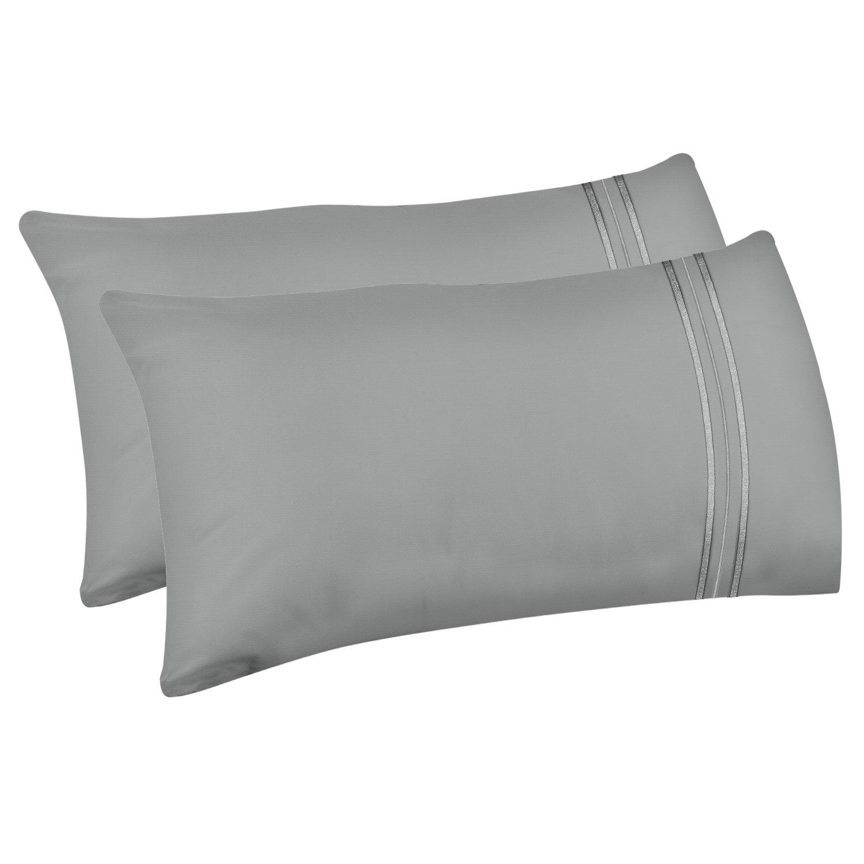 Lirex 2-Pack Fundas de Almohada, Tamaño Queen Fundas de Almohada de Microfibra Suave Cepillada, Transpirables sin Arrugas y Lavables a Máquina (Gris, Queen): Amazon.es: Hogar