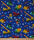 trucks fabric - Flannel Construction Vehicles Dump Trucks Cranes Bulldozers Tractors Earth Movers Blue Flannel Fabric by The Yard (108-2821)
