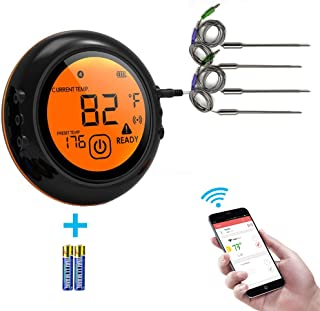 2019 upgrade Smart Wireless Meat Thermometer Bluetooth Adapter for iOS&Android,Digital Wireless Meat Thermometer Cooking Food with 4 metal Probes,Meat Thermometer Bluetooth for Smokers,Kitchen Grillin