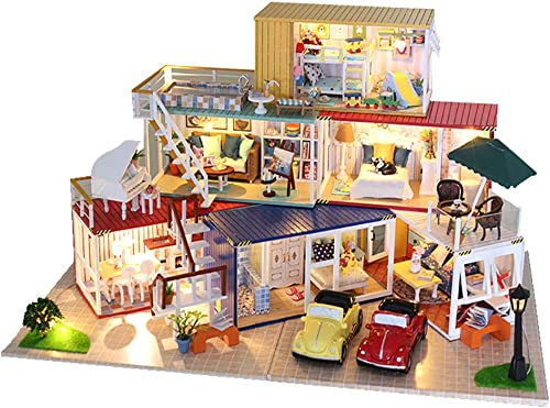 Dekompression Game, Adult Decompression Toy Handmade Miniature Wooden House Alone Time Home Decoration (Mit Musik, Licht und transparentem Cover)