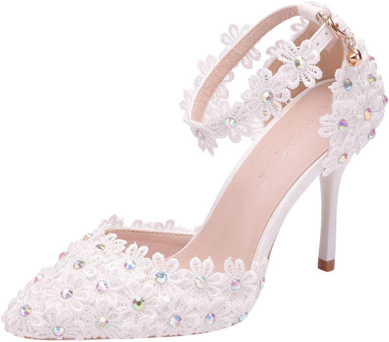 Bravetoshop Women's Ladies Crystal Rhinestone Wedding Pointed Toe Thin Sandals shoes High Heel shoes