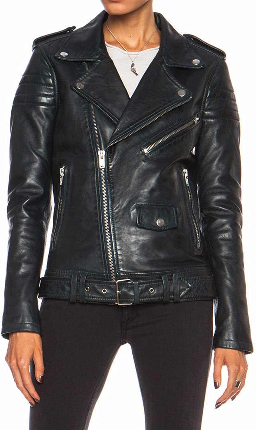 BTFashion Women's Blank NYC Black Biker Real Sheepskin Leather Jacket