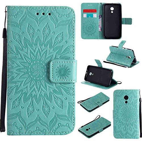 pinlu® PU Leder Tasche Etui Schutzhülle für Motorola Moto G 2. Generation (5 Zoll) Lederhülle Schale Flip Cover Tasche mit Standfunktion Sonnenblume Muster Hülle (Grün)