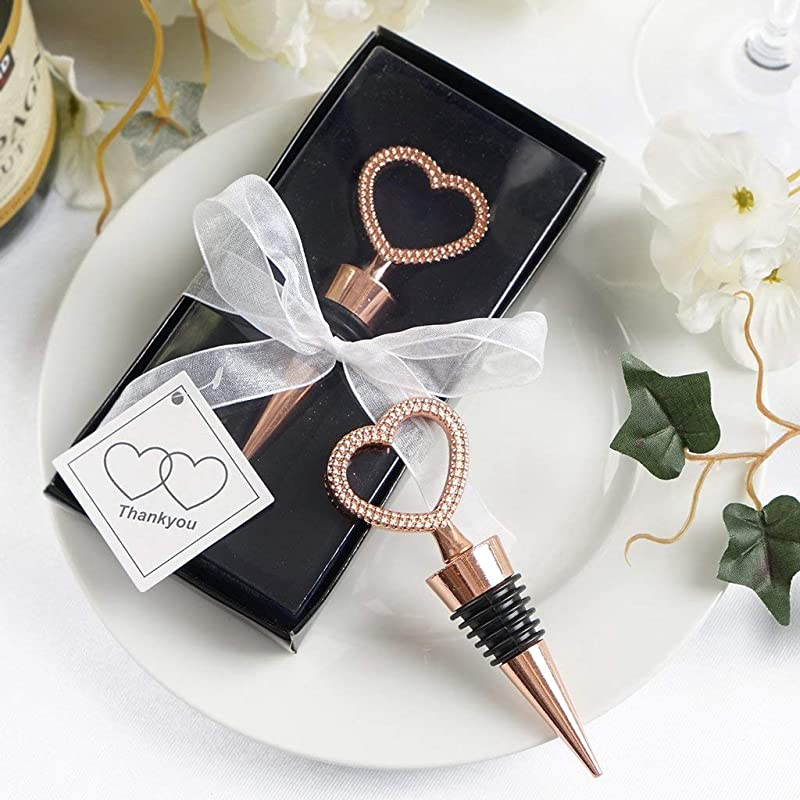 Tableclothsfactory Rose Gold Metal Rhinestone Studded Heart Wine Bottle Stopper Wedding Favor With Velvet Gift Box Lot Of 25